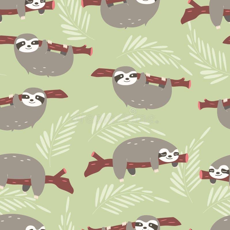 Teste padrão sem emenda com preguiças bonitos da selva no fundo verde ilustração do vetor