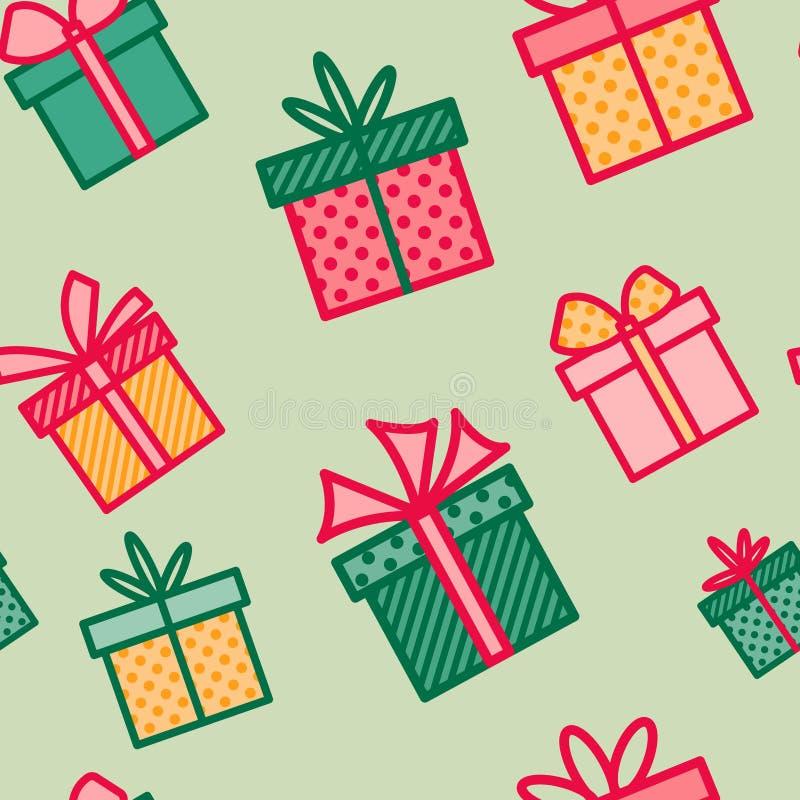 Teste padrão sem emenda com presentes do Natal, fundo colorido com caixas atuais, papel de parede sazonal do feriado de inverno ilustração stock