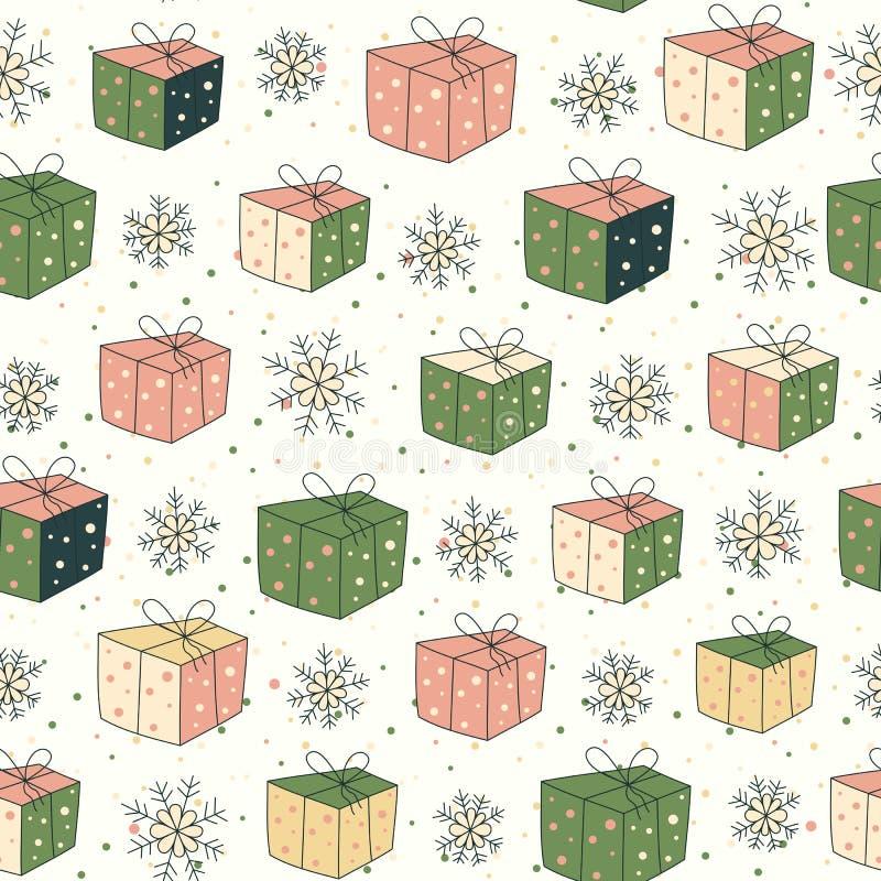 Teste padrão sem emenda com presentes e neve ilustração stock