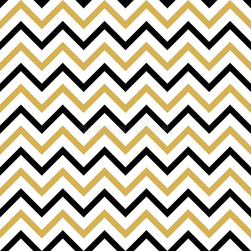 Teste padrão sem emenda com preto e ziguezague do ouro ilustração do vetor
