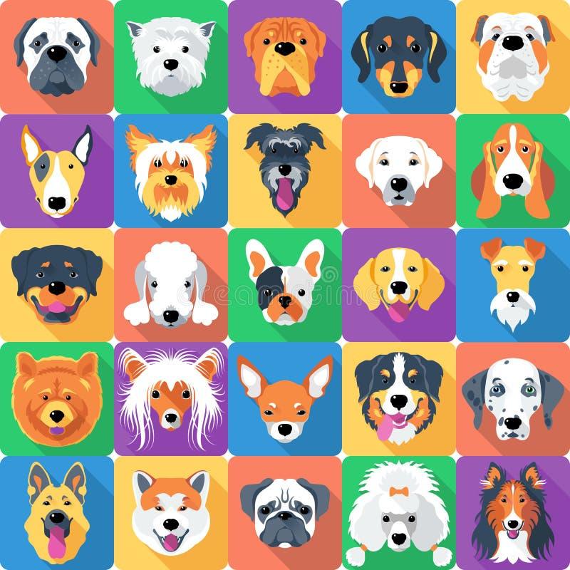 Teste padrão sem emenda com projeto liso dos cães ilustração do vetor