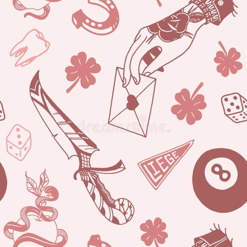 Teste padrão sem emenda com projetos tradicionais da tatuagem: dados, trevo, faca, parafuso de relâmpago, pantera, máquina da tat ilustração stock