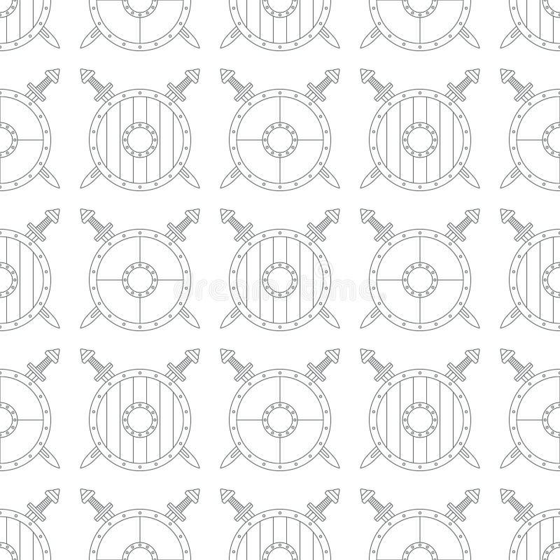 Teste padrão sem emenda com protetores e espadas de viquingue no fundo branco ilustração stock