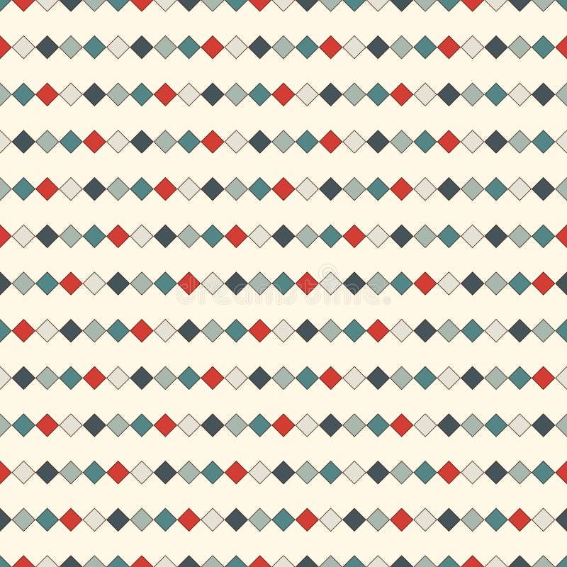 Teste padrão sem emenda com quadrados repetidos Linhas horizontais fundo Papel de parede do mosaico Ornamento geométrico minimali ilustração do vetor