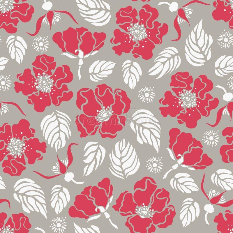 Teste padrão sem emenda com quadris cor-de-rosa, rosas selvagens Fundo botânico ilustração royalty free