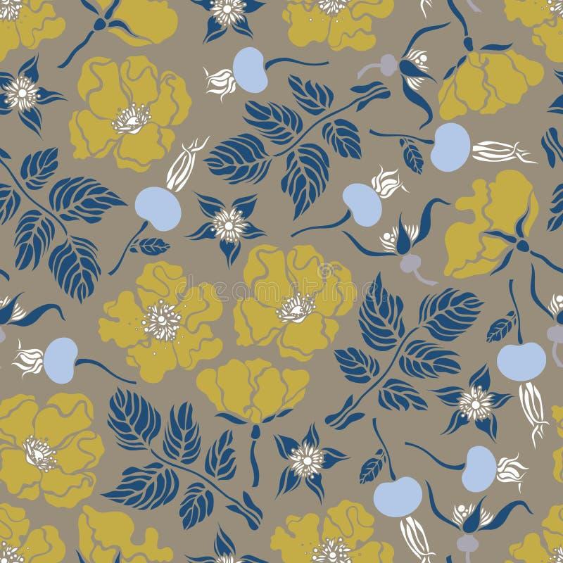 Teste padrão sem emenda com quadris cor-de-rosa, rosas selvagens Fundo botânico ilustração stock