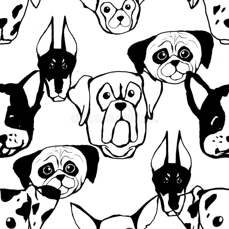 Teste padrão sem emenda com raças do cão Buldogue, cão de puxar trenós, Malamute do Alasca, perdigueiro, Doberman, caniche, Pug,  ilustração do vetor