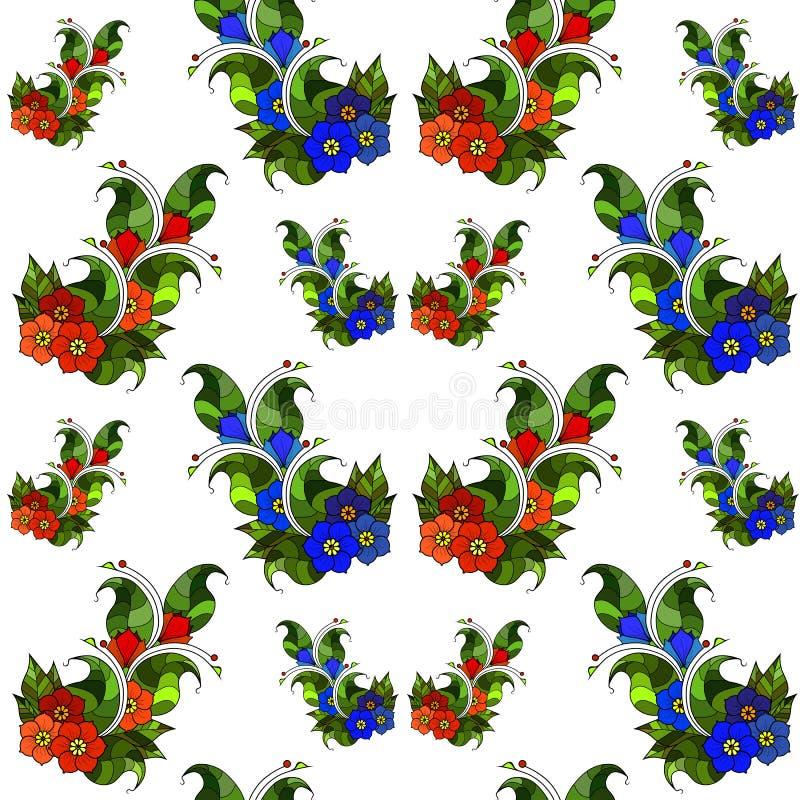 Teste padrão sem emenda com ramos abstratos com flores Vetor imagem de stock royalty free