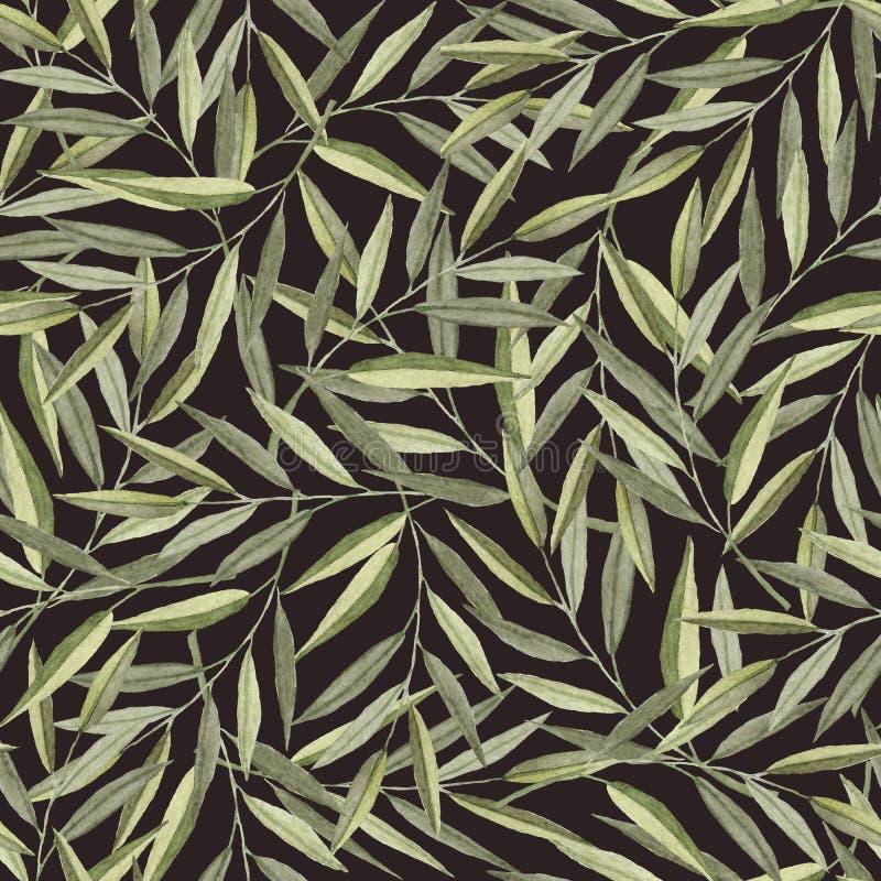 Teste padrão sem emenda com ramos da aquarela ilustração royalty free