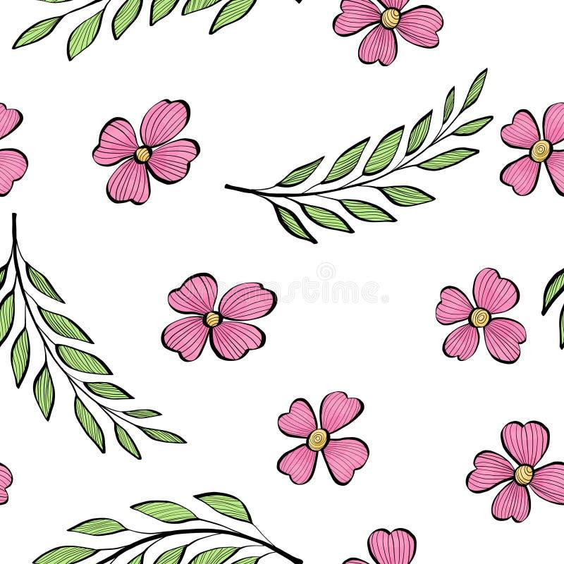 Teste padrão sem emenda com ramos da folha e as flores cor-de-rosa no estilo do esboço Ilustração colorida no fundo branco ilustração do vetor