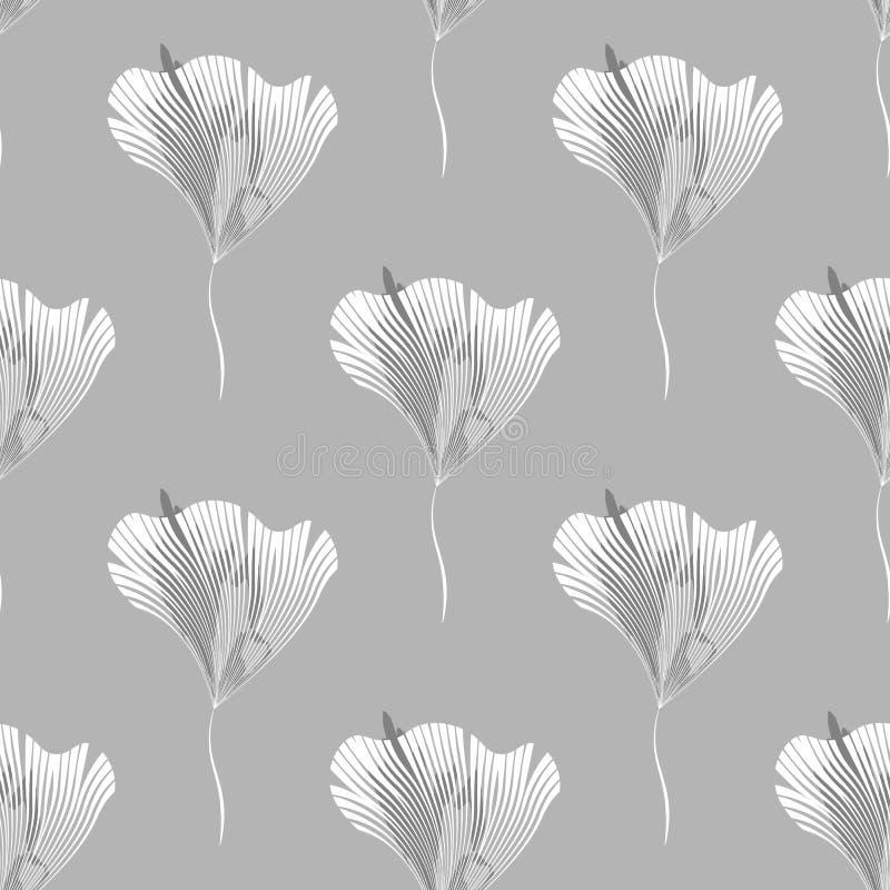 Teste padrão sem emenda com ramos e as flores abstratos Ilustração floral preto e branco de background ilustração royalty free