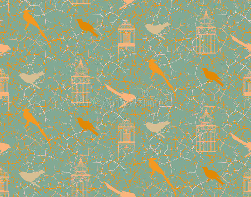 Teste padrão sem emenda com ramos, espinhos, pássaros e birdcage do vintage ilustração do vetor