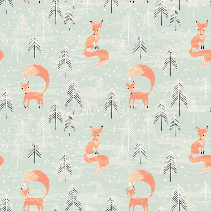 Teste padrão sem emenda com a raposa na floresta do inverno ilustração royalty free