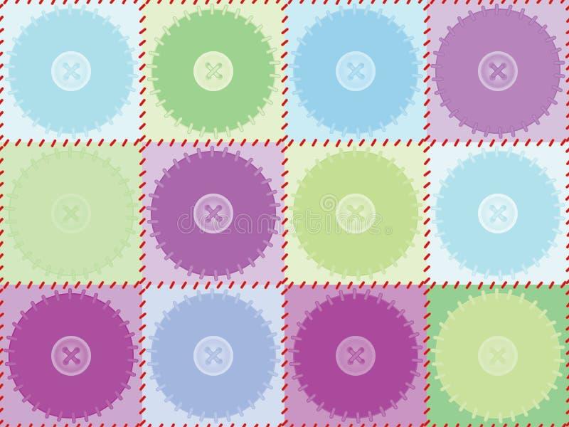 Teste padrão com remendos e botões ilustração do vetor