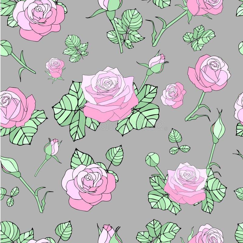 Teste padrão sem emenda com rosas cor-de-rosa imagens de stock