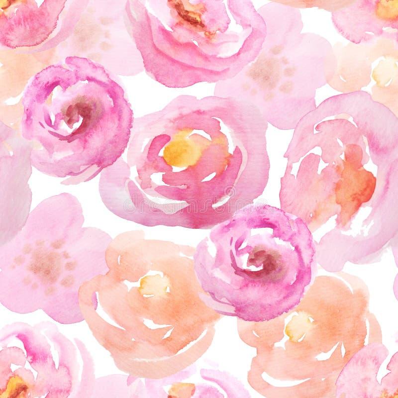 Teste padrão sem emenda com rosas cor-de-rosa ilustração royalty free