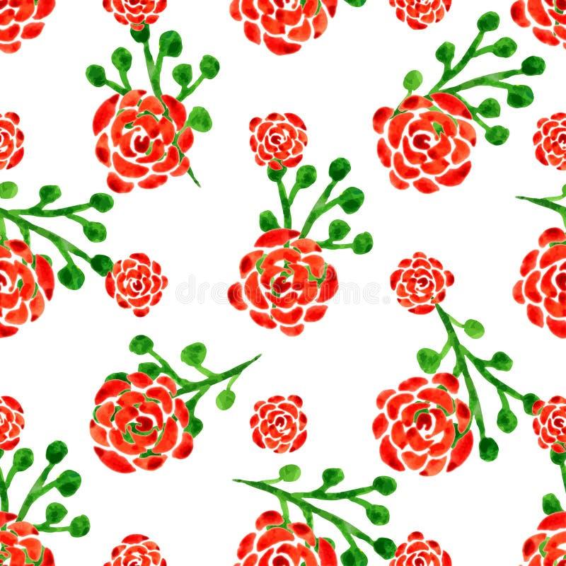 Teste padrão sem emenda com rosas da aguarela Ilustração do vetor com flores vermelhas Fundo floral ilustração stock
