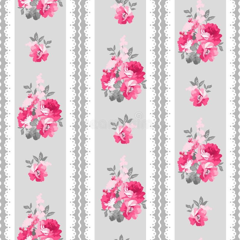 Teste padrão sem emenda com rosas e laço cor-de-rosa ilustração stock