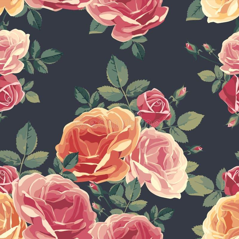 Teste padrão sem emenda com rosas Fundo floral do vintage ilustração stock