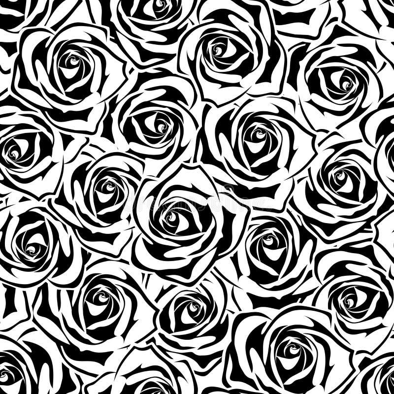 Teste padrão sem emenda com rosas preto e branco Ilustração do vetor ilustração stock