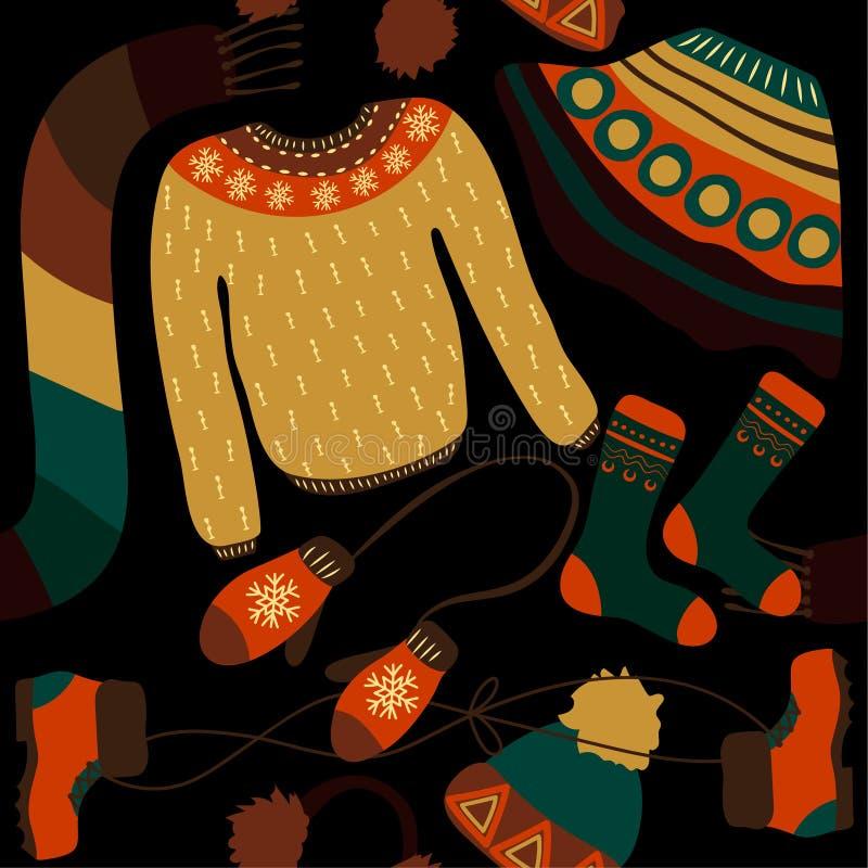 Teste padrão sem emenda com roupa do inverno Woollies mornos Roupa para o tempo frio ilustração stock