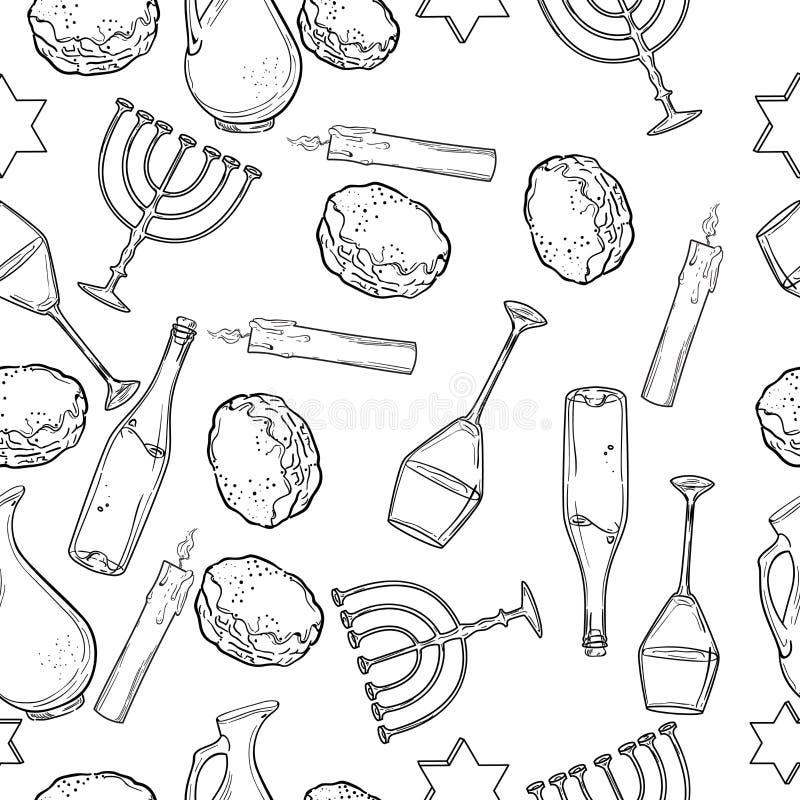 Teste padrão sem emenda com símbolos do Hanukkah ilustração stock