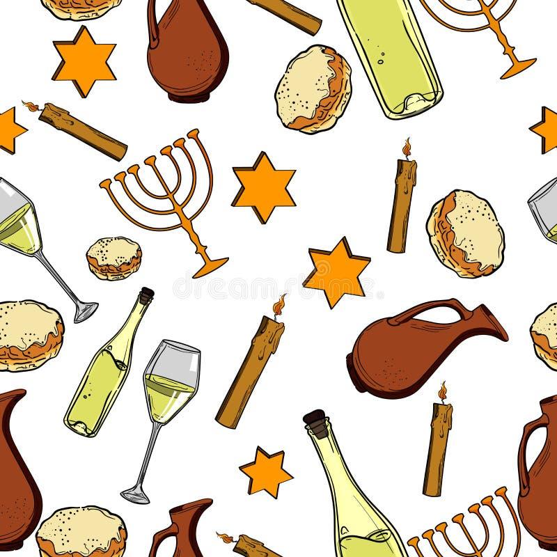 Teste padrão sem emenda com símbolos do Hanukkah ilustração royalty free