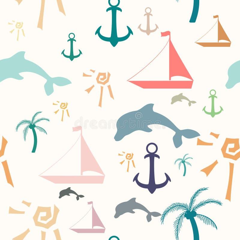 Teste padrão sem emenda com símbolos do verão ilustração stock