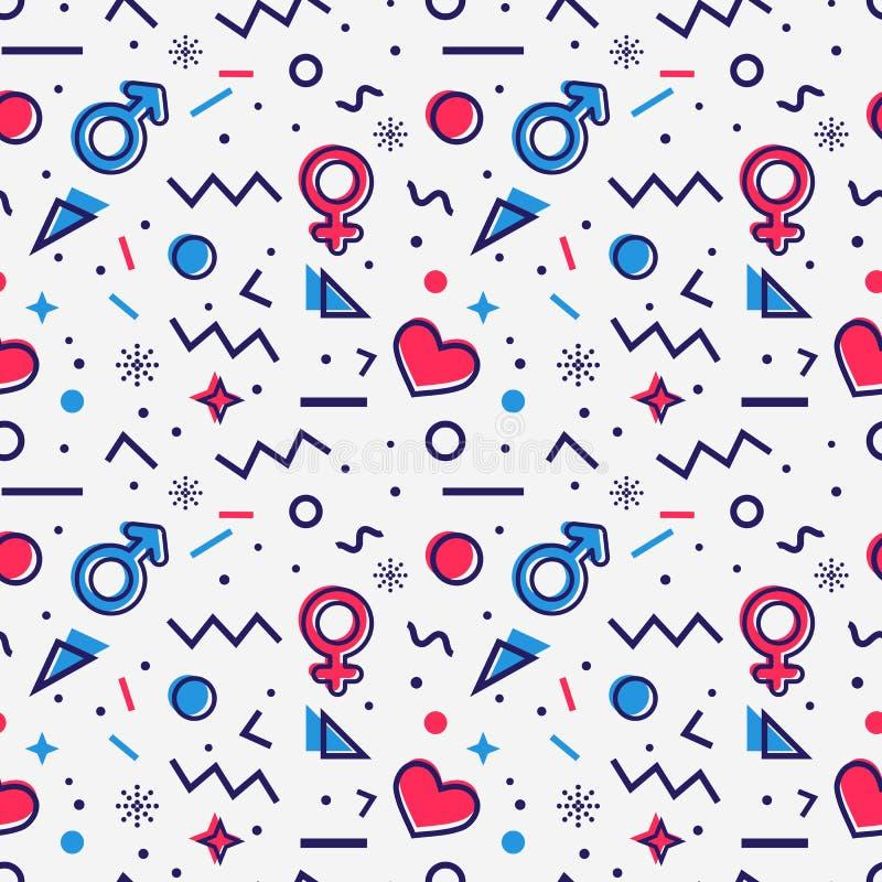 Teste padrão sem emenda com símbolos e corações do gênero Vetor ilustração stock