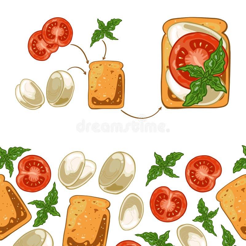 Teste padrão sem emenda com sanduíche: brinde o pão, a mussarela, o tomate e a manjericão ilustração stock