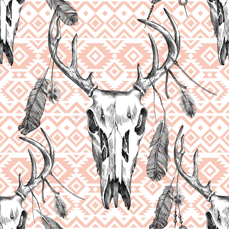 Teste padrão sem emenda com scull dos cervos, penas e os ornamento tribais ilustração do vetor