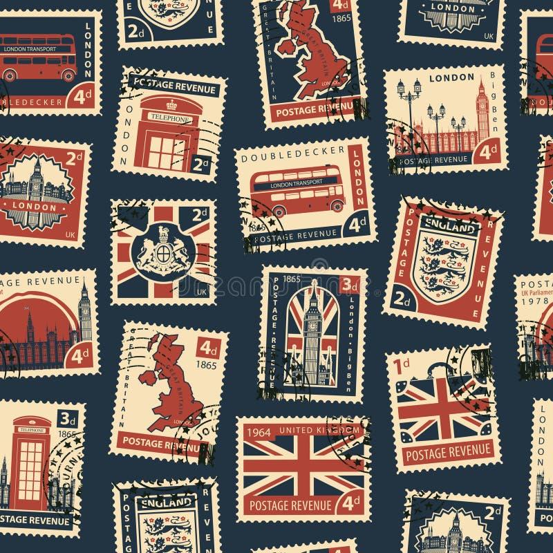 Teste padrão sem emenda com selos postais no tema BRITÂNICO ilustração do vetor