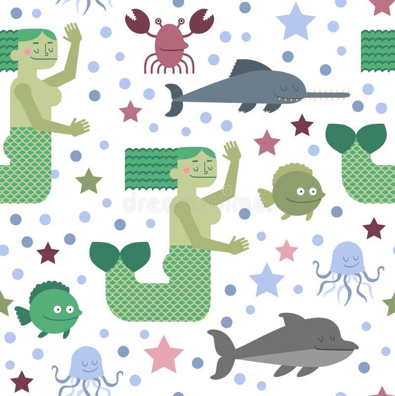 Teste padrão sem emenda com sereia e vida marinha ilustração stock