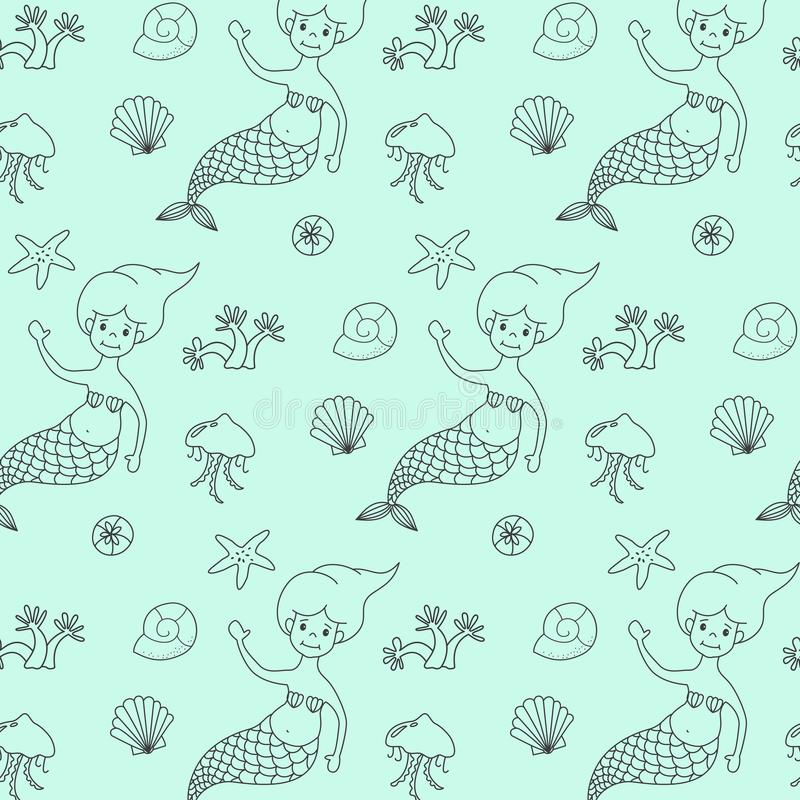 Teste padrão sem emenda com sereias dos desenhos animados ilustração stock