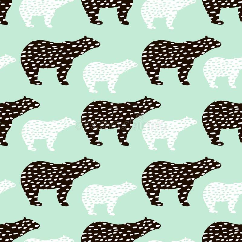 Teste padrão sem emenda com a silhueta do urso polar Aperfeiçoe para a tela, matéria têxtil Fundo do vetor ilustração stock