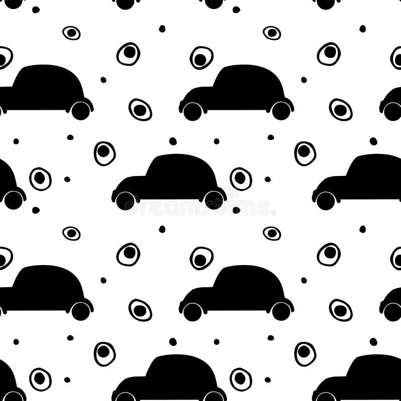 Teste padrão sem emenda com a silhueta preta de carros retros e de círculos abstratos ilustração do vetor