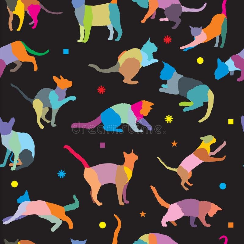 Teste padrão sem emenda com silhuetas dos gatos ilustração do vetor