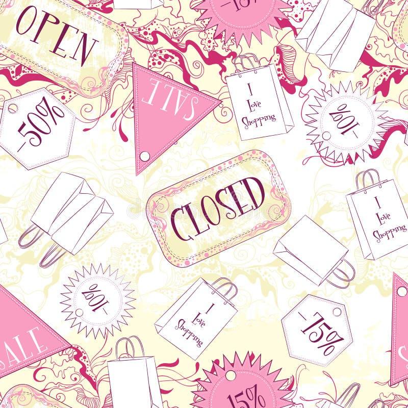 Teste padrão sem emenda com sinais e os acessórios de forma fechados abertos ilustração do vetor