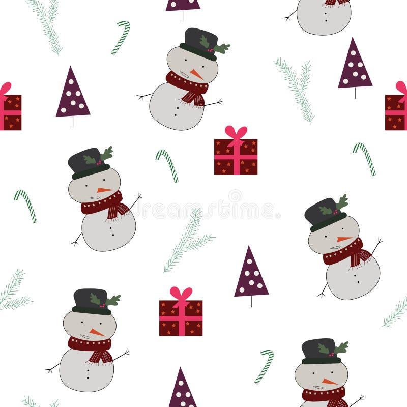 Teste padrão sem emenda com snownan, árvores de Natal, presentes ilustração royalty free