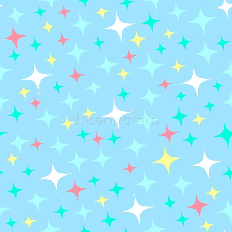 Teste padrão sem emenda com sparkles da luz das estrelas, estrelas de cintilação Fundo azul de brilho Brilho abstrato, contexto c ilustração do vetor