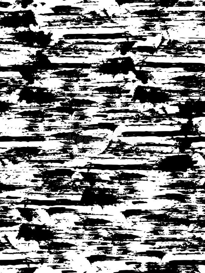 Teste padrão sem emenda com superfície descascada textura Fundo em cores preto e branco grunge Tinta e escova Sumário Mão desenha ilustração stock