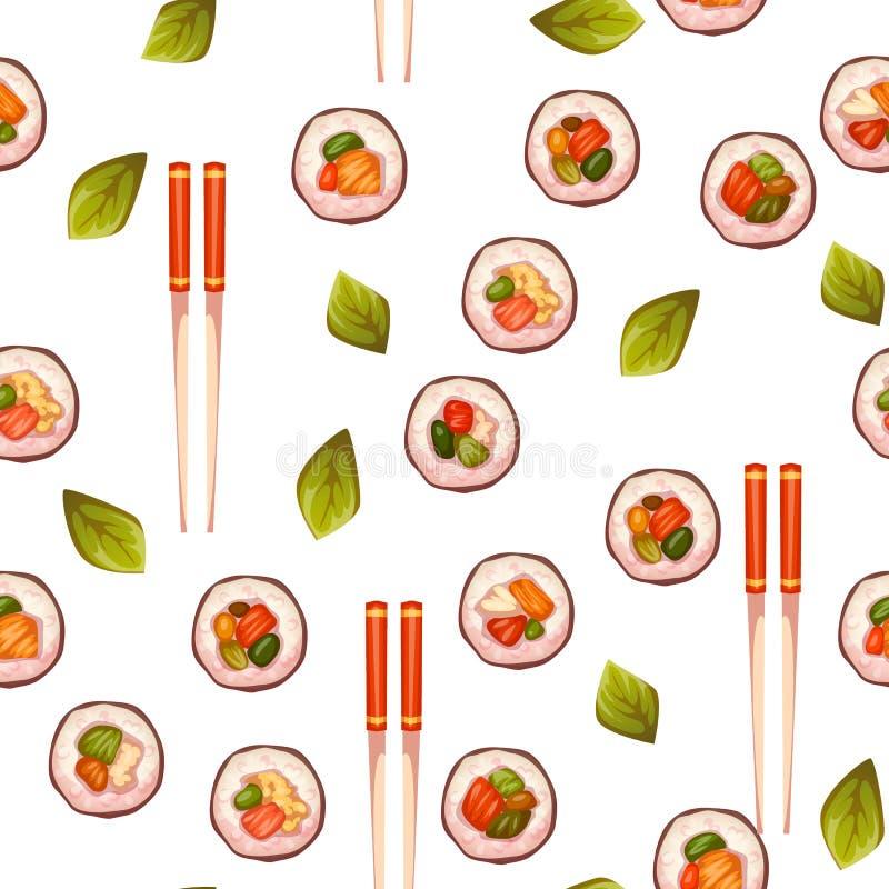 Teste padrão sem emenda com sushi Fundo do vetor ilustração royalty free