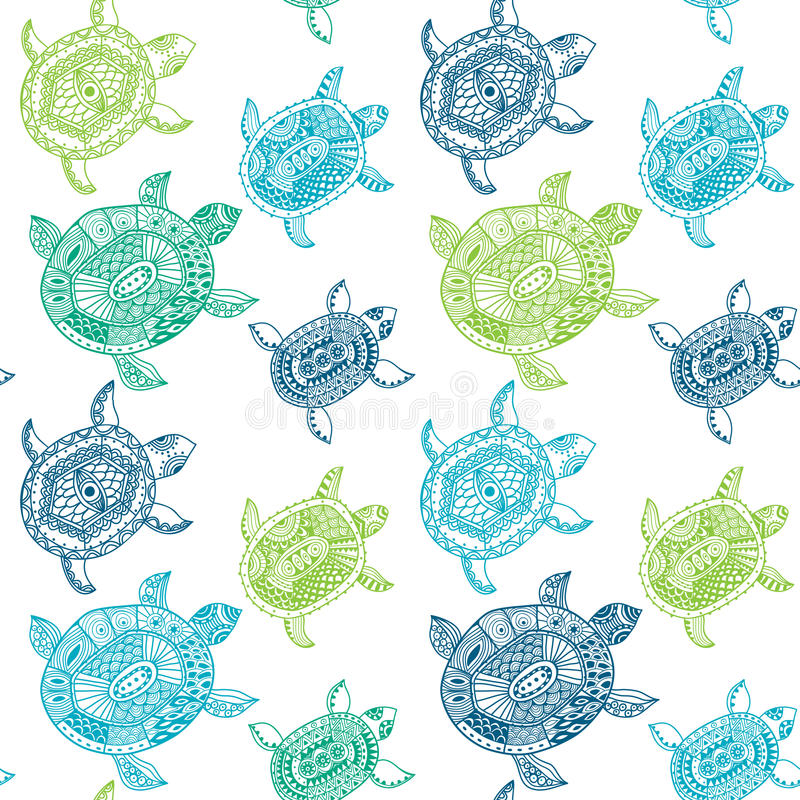 Teste padrão sem emenda com tartarugas O teste padrão sem emenda pode ser usado para ilustração stock