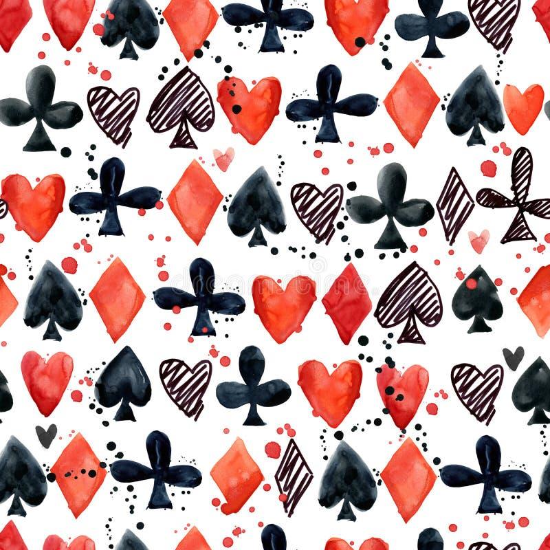 Teste padrão sem emenda com ternos do cartão Cartões de jogo pá, coração, clube, diamante ilustração stock