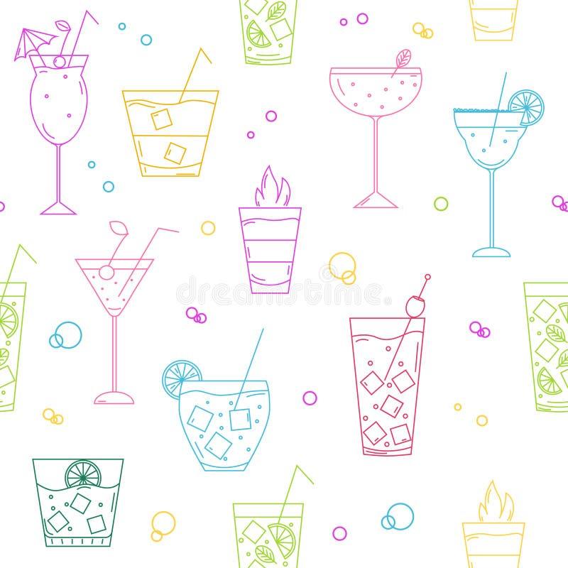 Teste padrão sem emenda com tipos diferentes de cocktail ilustração stock
