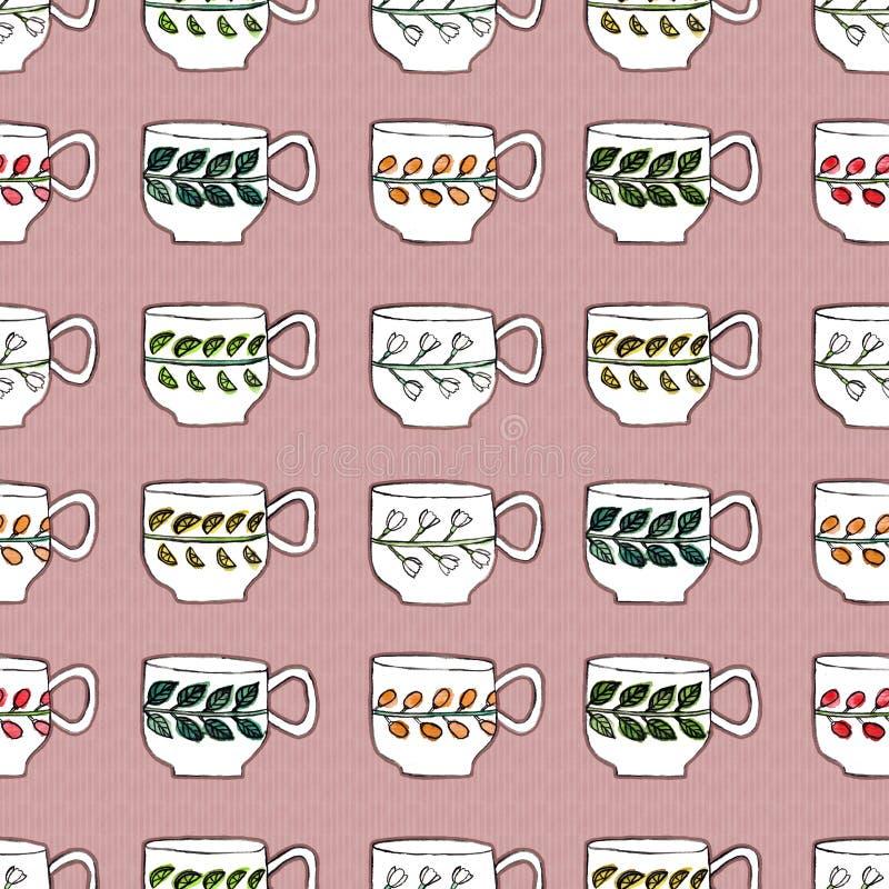 Teste padrão sem emenda com tiragem das xícaras de chá ilustração do vetor