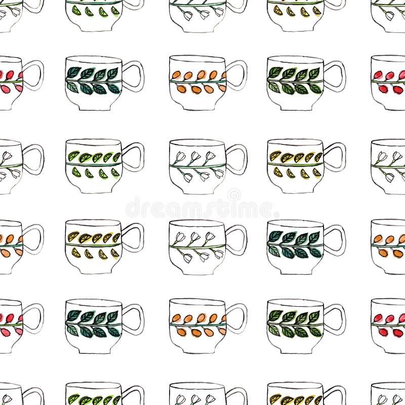 Teste padrão sem emenda com tiragem e aquarela das xícaras de chá ilustração stock