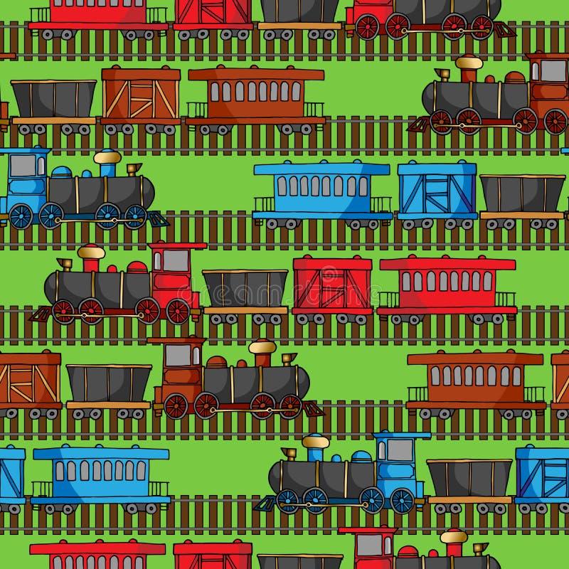 Teste padrão sem emenda com trens e os trajetos coloridos da estrada de ferro ilustração royalty free