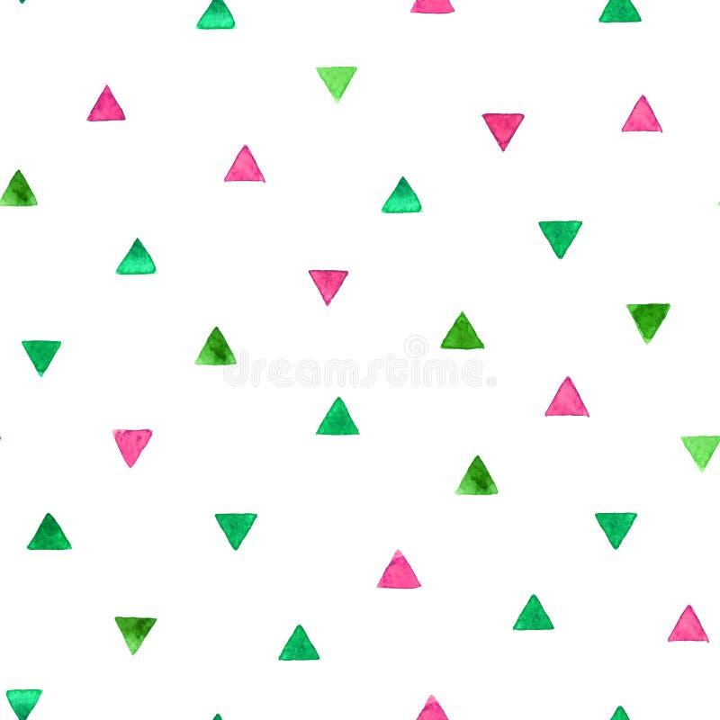 Teste padrão sem emenda com triângulos brilhantes da aquarela Ilustração do vetor ilustração do vetor