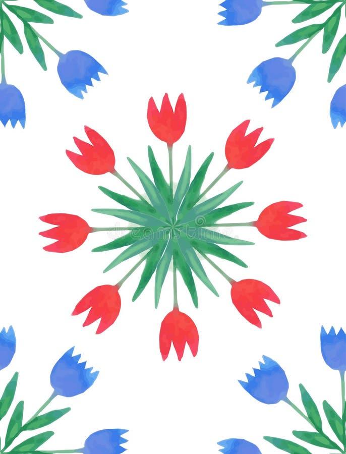 Teste padrão sem emenda com tulipas da aquarela ilustração stock